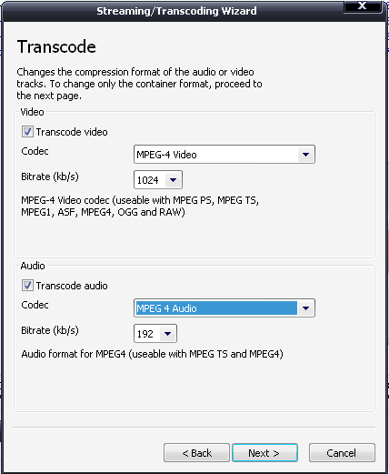 Select codecs for video and audio