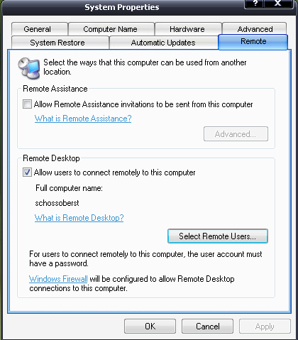 Settings to accept RDP connections on Windows XP