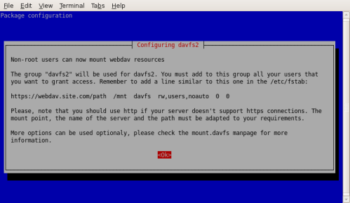 davfs2 infoscreen dpgk-reconfigure